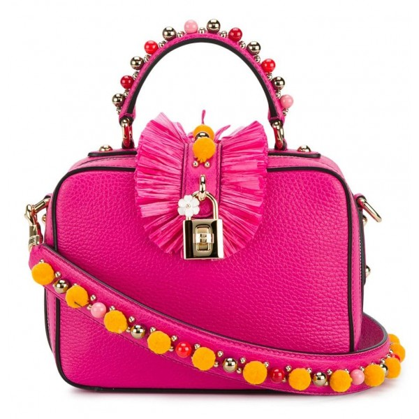 Dolce & Gabbana Vintage - Embellished Leather Box Satchel Bag - Rosa - Borsa in Pelle e Vitello - Alta Qualità Luxury