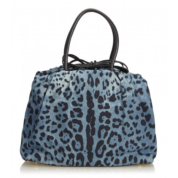 Dolce & Gabbana Vintage - Leopard Printed Denim Tote Bag - Blu Navy - Leather and Canvas Handbag - Luxury High Quality
