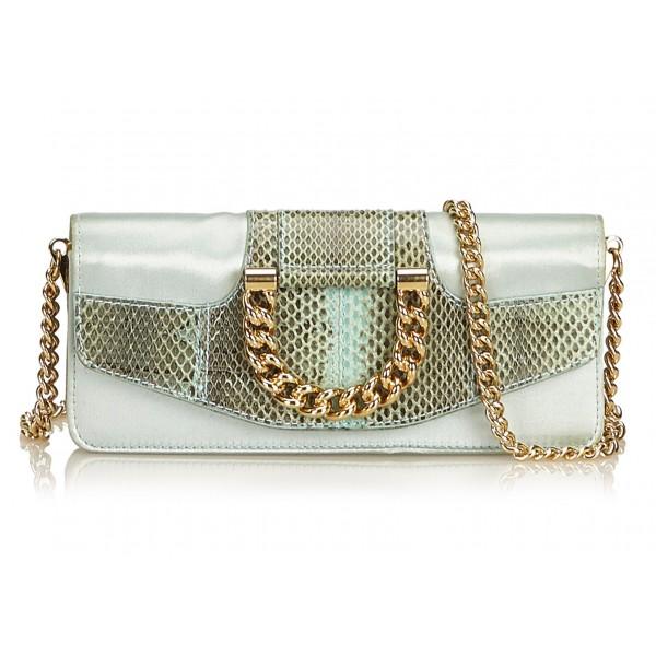 Dolce & Gabbana Vintage - Satin Python Chain Crossbody Bag - Verde Oro - Borsa in Pelle e Tessuto - Alta Qualità Luxury