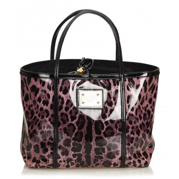 Dolce & Gabbana Vintage - Leopard Printed Tote Bag - Viola - Borsa in Pelle e Tessuto - Alta Qualità Luxury