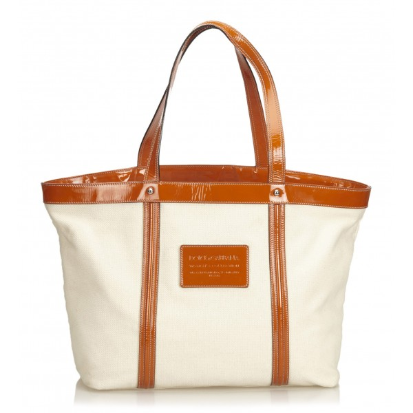 Dolce & Gabbana Vintage - Canvas Tote Bag - White Orange - Leather and Canvas Handbag - Luxury High Quality