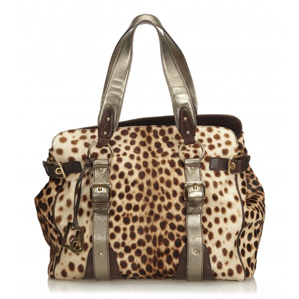 Dolce & Gabbana Vintage - Leopard Printed Ponyhair Tote Bag - Brown Beige - Leather Handbag - Luxury High Quality