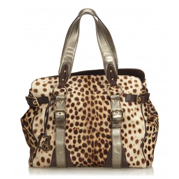 Dolce & Gabbana Vintage - Leopard Printed Ponyhair Tote Bag - Marrone Beige - Borsa in Pelle - Alta Qualità Luxury