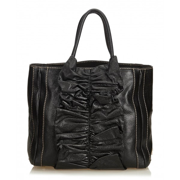 Dolce & Gabbana Vintage - Gathered Leather Tote Bag - Nero - Borsa in Pelle - Alta Qualità Luxury