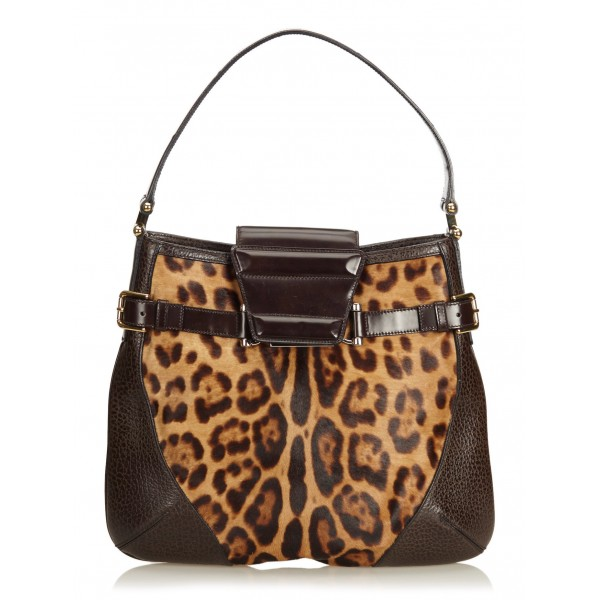 Dolce & Gabbana Vintage - Leopard Printed Pony Hair Hobo Bag - Marrone - Borsa in Pelle - Alta Qualità Luxury