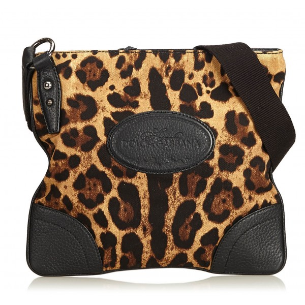 Dolce & Gabbana Vintage - Leopard Printed Cotton Crossbody Bag - Marrone - Borsa in Pelle - Alta Qualità Luxury