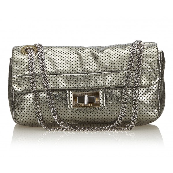 Chanel Vintage - Perforated Leather Flap Bag - Grigio Argento - Borsa in Pelle - Alta Qualità Luxury
