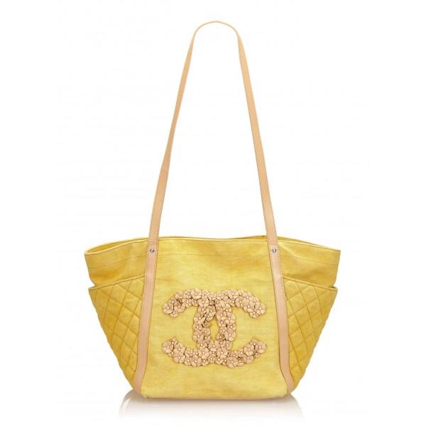 Chanel Vintage - Camellia CC Tote Bag - Giallo - Borsa in Pelle e Tessuto - Alta Qualità Luxury