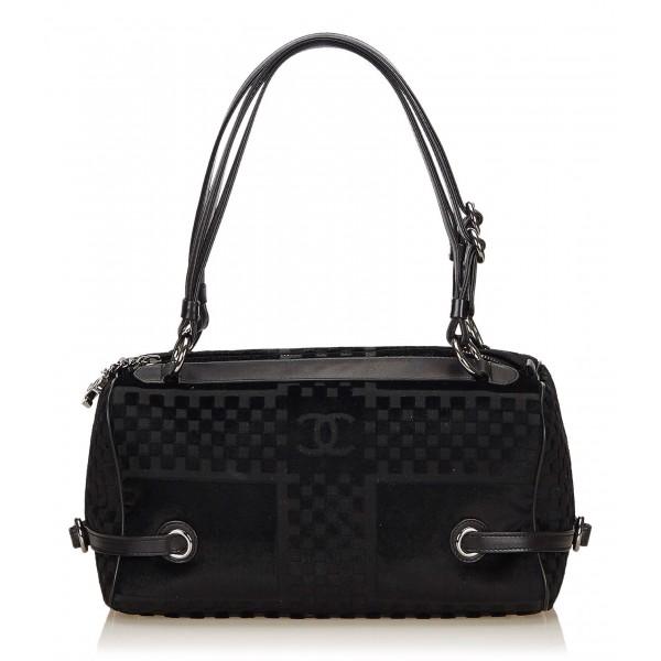 Chanel Vintage - Velour Shoulder Bag - Nero - Borsa in Pelle e Agnello - Alta Qualità Luxury