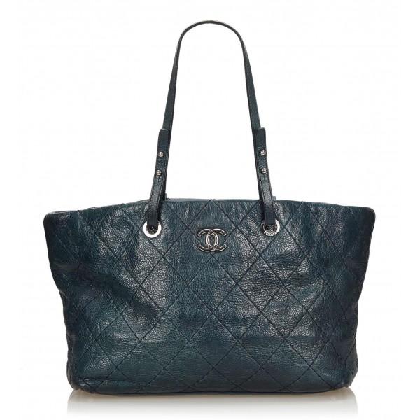 Chanel Vintage - Soft Caviar Tote Bag - Blu - Borsa in Pelle Caviar - Alta Qualità Luxury