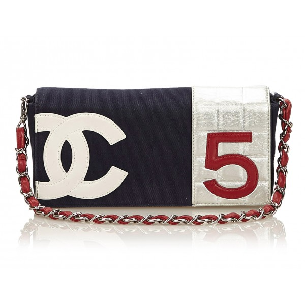 Chanel Vintage - No. 5 Chain Bag - White Ivory - Leather and Canvas Handbag - Luxury High Quality