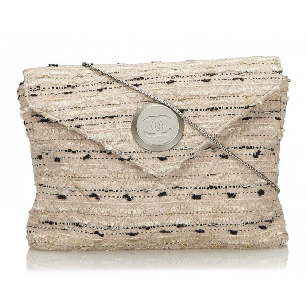 Chanel Vintage - Tweed Chain Envelope Bag - White - Fabric and Tweed Handbag - Luxury High Quality