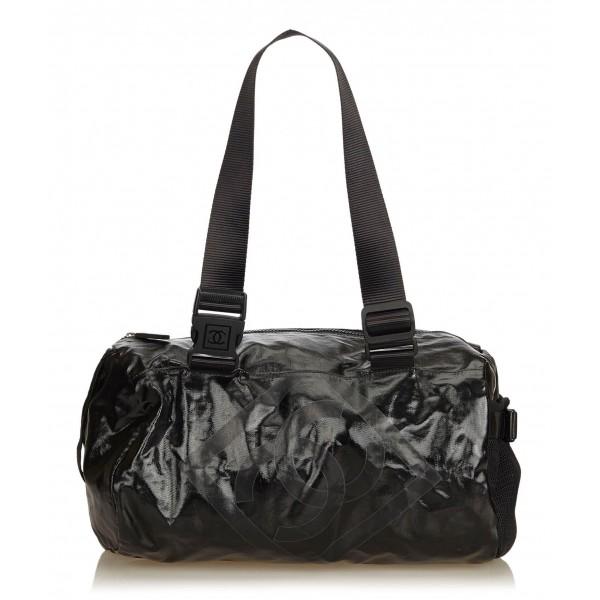 Chanel Vintage - Coated Canvas Sport Line Shoulder Bag - Nero - Borsa in Pelle e Tessuto - Alta Qualità Luxury