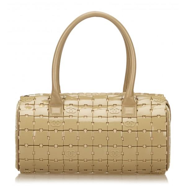 Chanel Vintage - PVC Puzzle Block Handbag Bag - Marrone Beige - Borsa in Pelle e PVC - Alta Qualità Luxury
