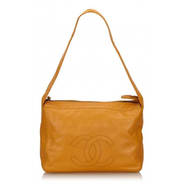 Chanel Vintage - Leather Shoulder Bag - Arancione - Borsa in Pelle - Alta Qualità Luxury