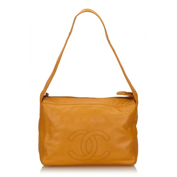 Chanel Vintage - Leather Shoulder Bag - Orange - Leather Handbag - Luxury High Quality