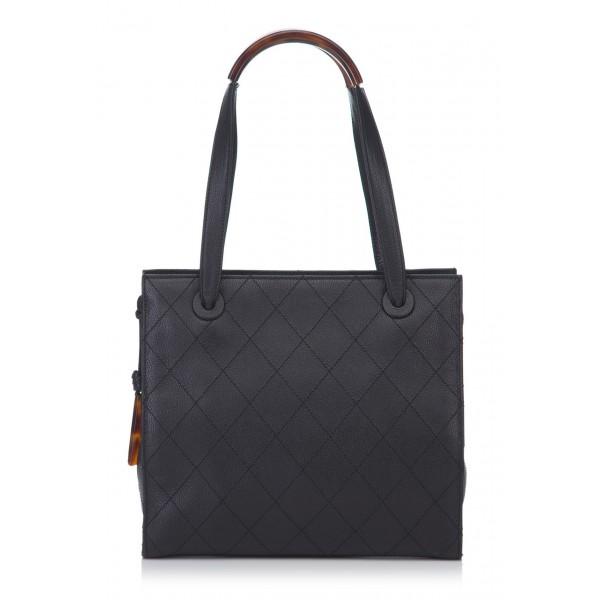 Chanel Vintage - Quilted Matalesse Leather Handbag - Nero - Borsa in Pelle Caviar - Alta Qualità Luxury