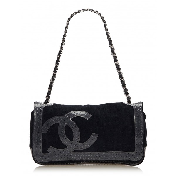 Chanel Vintage - Sport Line Chain Shoulder Bag - Black - Canvas and Vinyl Handbag - Luxury High Quality