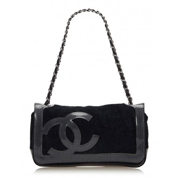 Chanel Vintage - Sport Line Chain Shoulder Bag - Nero - Borsa in Tessuto e Vinile - Alta Qualità Luxury