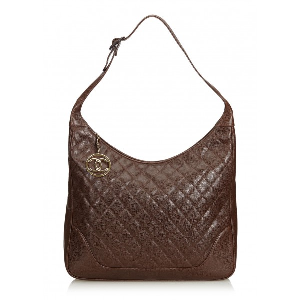 Chanel Vintage - Quilted Caviar Leather Shoulder Bag - Marrone - Borsa in Pelle Caviar - Alta Qualità Luxury