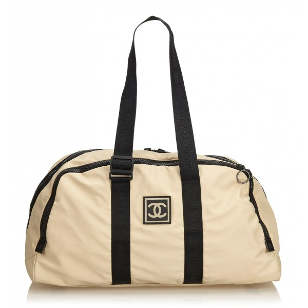 Chanel Vintage - CC Nylon Sport Line Duffle Bag - Brown Beige - Leather and Canvas Handbag - Luxury High Quality