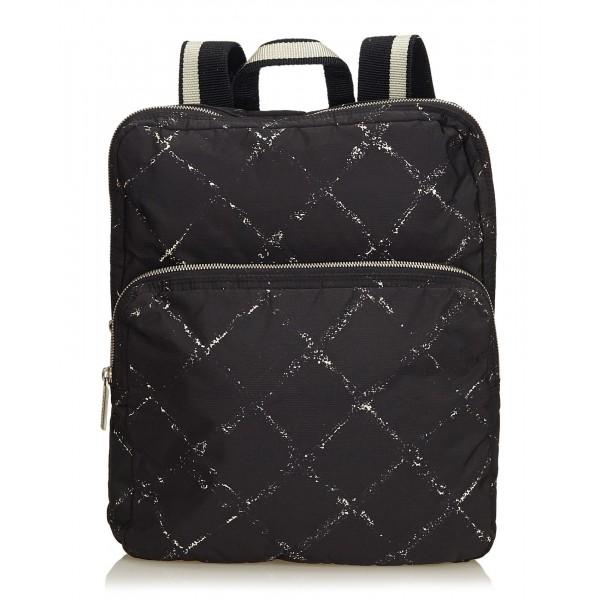 Chanel Vintage - Old Travel Line Backpack - Nero - Zaino in Tessuto - Alta Qualità Luxury