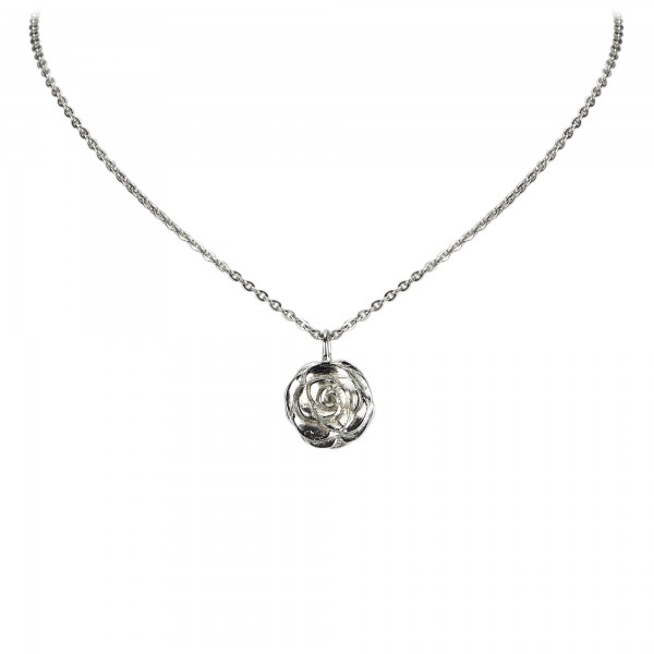 Chanel Vintage - Camellia Pendant Necklace - Silver - Necklace Chanel - Luxury High Quality