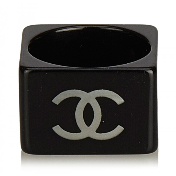 Chanel Vintage - CC Ring - Nero Bianco - Anello Chanel - Alta Qualità Luxury