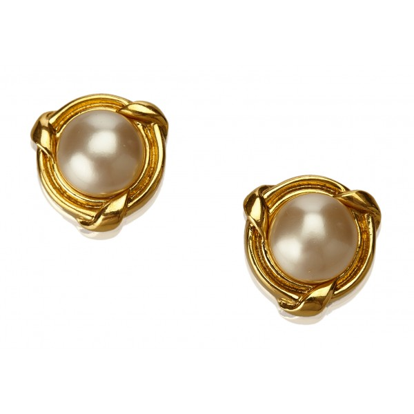 Chanel Vintage - Faux Pearl Gold-Tone Clip-On Earrings - Oro - Orecchini Chanel - Alta Qualità Luxury