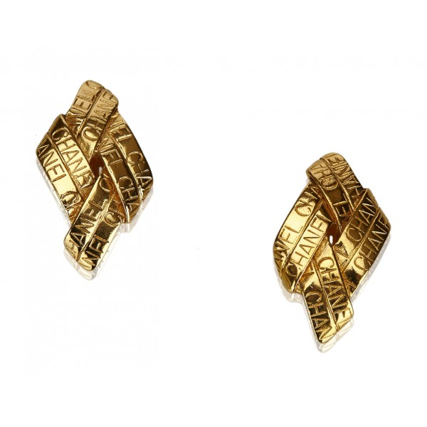 Chanel Vintage - Gold Toned Clip On Earrings - Oro - Orecchini Chanel - Alta Qualità Luxury