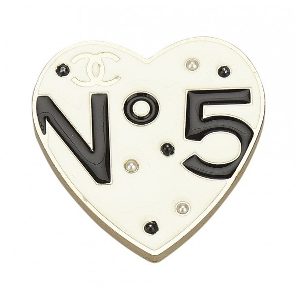 Chanel Vintage - Metal No 5 Heart Brooch - White - Brooch Chanel - Luxury High Quality