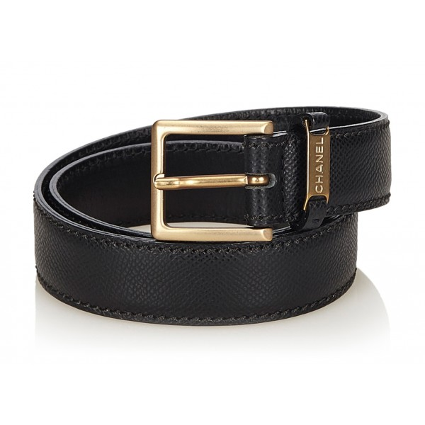 Chanel Vintage - Leather Belt - Black Gold - Chanel Leather Belt - Luxury High Quality