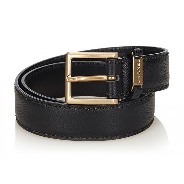 Chanel Vintage - Leather Belt - Black Gold - Chanel Leather Belt - Luxury High Quality