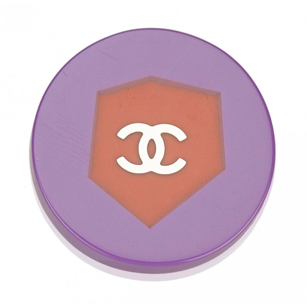 Chanel Vintage - CC Colorblock Brooch - Viola Rosso - Spilla Chanel - Alta Qualità Luxury