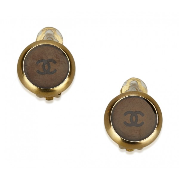 Chanel Vintage - Clip-On CC Earrings - Gold Brown - Earrings Chanel - Luxury High Quality