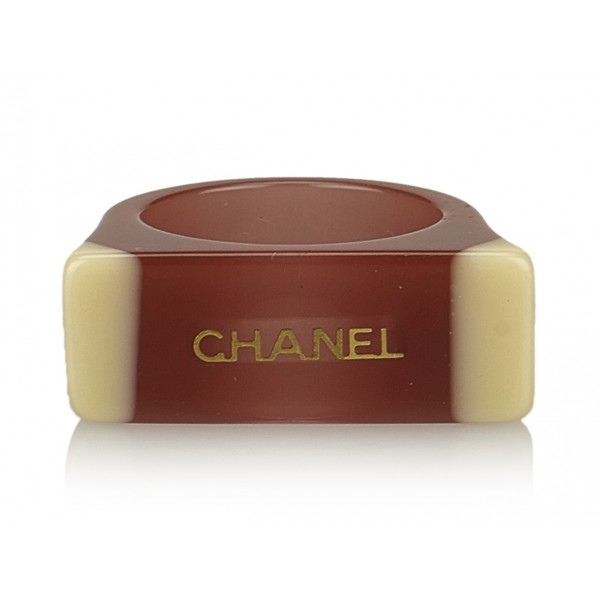 Chanel Vintage - Enamel CC Ring - Marrone - Anello Chanel - Alta Qualità Luxury