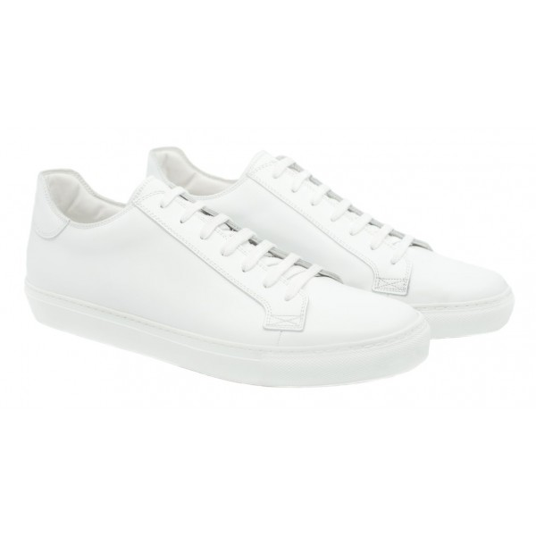 Bottega Senatore - Calvino - Sneakers - White - Italian Handmade Man Shoes - High Quality Leather Shoes