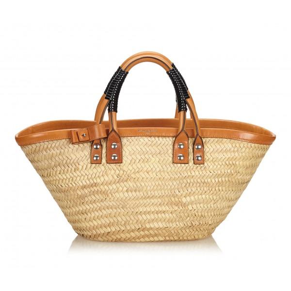 Balenciaga Vintage - Bistrot Panier Tote Bag - Marrone Beige - Borsa in Pelle e Paglia - Alta Qualità Luxury