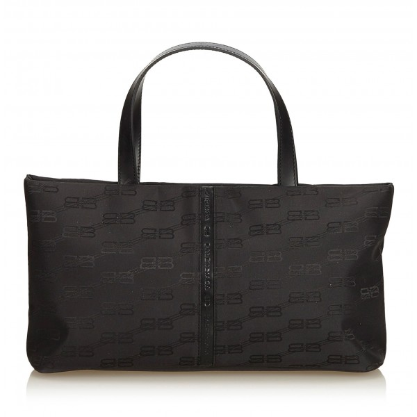 Balenciaga Vintage - Nylon Tote Bag - Nero - Borsa in Pelle e Tessuto - Alta Qualità Luxury