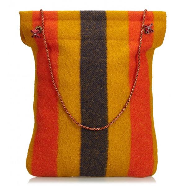 Hermès Vintage - Aline Rocabar Grooming Bag - Marrone Multi - Borsa in Tessuto e Lana - Alta Qualità Luxury