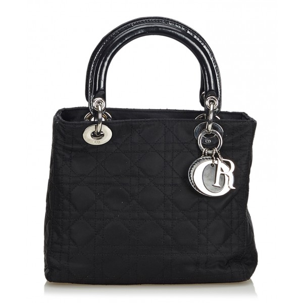 Dior Vintage - Lady Dior Nylon Cannage Handbag Bag - Black - Leather and Canvas Handbag - Luxury High Quality