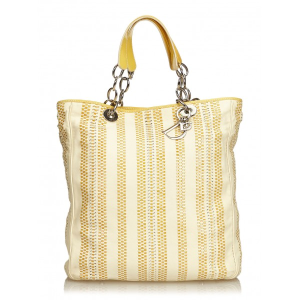 Dior Vintage - Large Woven Leather Soft Shopper Tote Bag - Marrone Beige - Borsa in Pelle - Alta Qualità Luxury