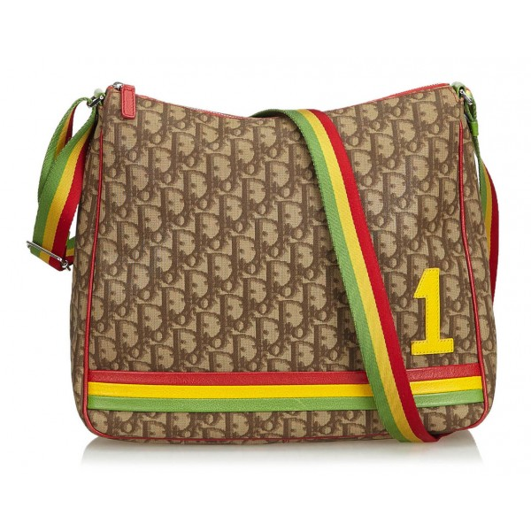 Dior Vintage - Rasta Oblique Crossbody Bag - Marrone Beige - Borsa in Pelle - Alta Qualità Luxury