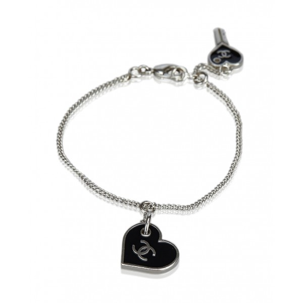 Chanel Vintage - CC Heart Charm Bracelet - Black - Chanel Bracelet - Luxury High Quality