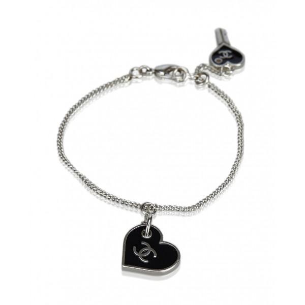 Chanel Vintage - CC Heart Charm Bracelet - Black - Chanel Bracelet - Luxury High Quality