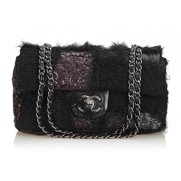 Chanel Vintage - Medium Patchwork Flap Bag - Black - Leather and Lambskin Handbag - Luxury High Quality