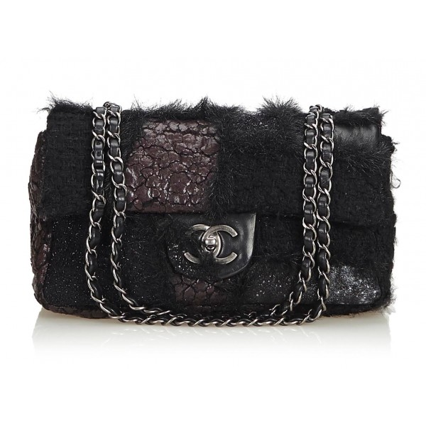Chanel Vintage - Medium Patchwork Flap Bag - Nero - Borsa in Pelle e Agnello - Alta Qualità Luxury