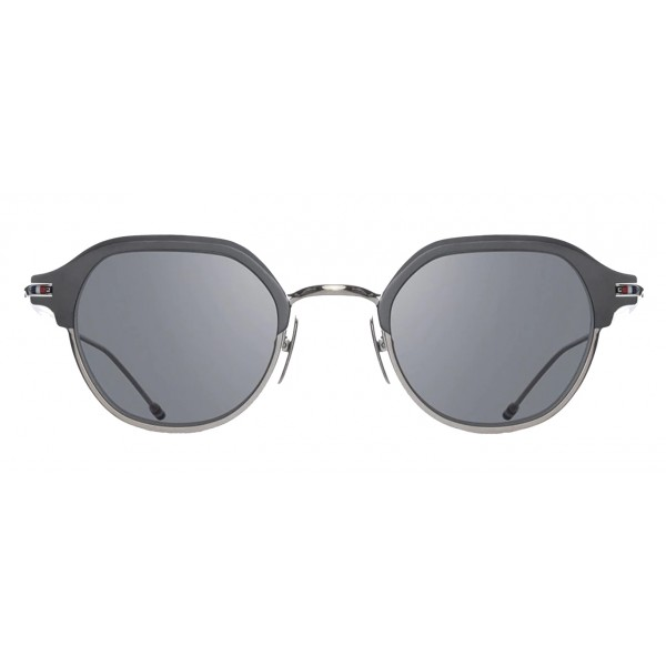 Thom Browne - Occhiali da Sole in Titanio Argento e Nero - Thom Browne Eyewear