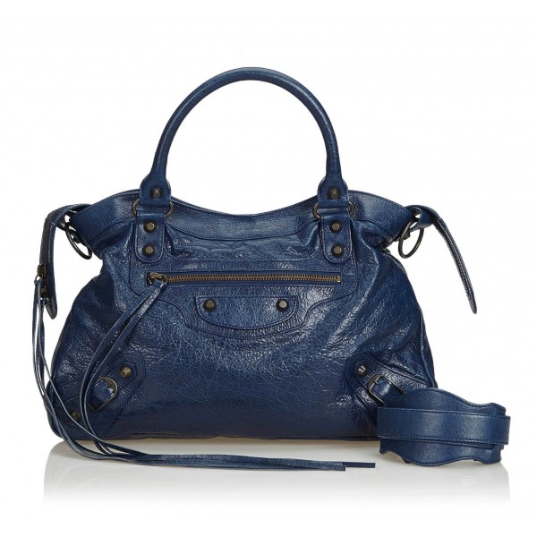 Balenciaga Vintage - Motocross Classic First Bag - Blue Navy - Leather Handbag - Luxury High Quality