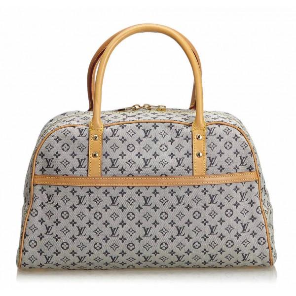Louis Vuitton Vintage Monogram Mini Lin Marie Bag Blue Navy Brown Monogram Leather Handbag Luxury High Quality Avvenice